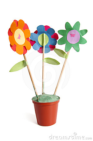 Free Three Colorful Paper Flowers Stock Image - 24413511