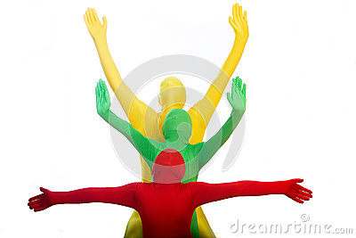 Three colorful people with arms outstretched