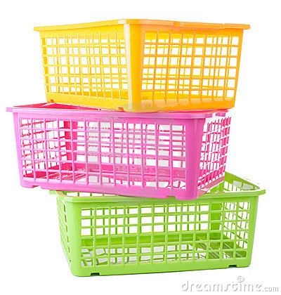 Free Three Colorful Plastic Baskets Stock Photo - 18131870