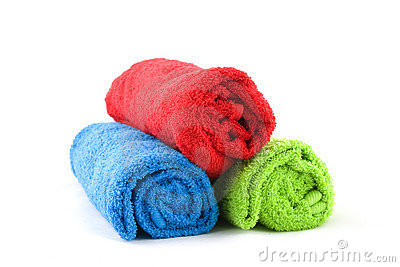 Three colorful towels