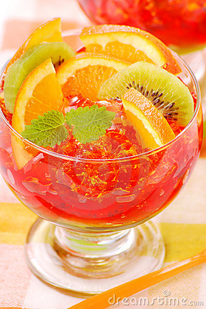 Free Three Colour Jelly With Fruits Stock Photography - 10924132