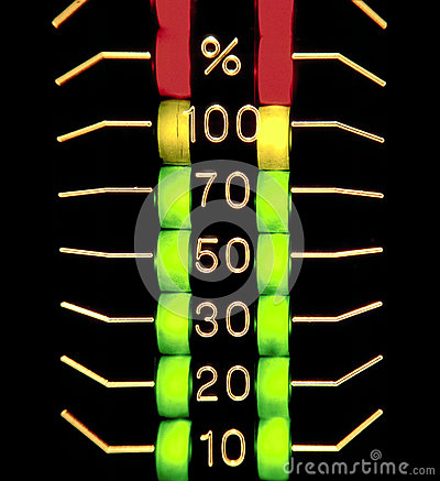 three coloured distorted level indicator
