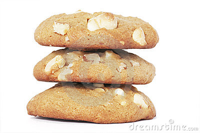 Three Cookie Biscuits With White Chocolate And Nut