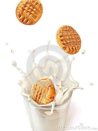 Free Three Cookies Biscuits Falling Into A Glass Mug Full Of Fresh Mi Royalty Free Stock Image - 38749576