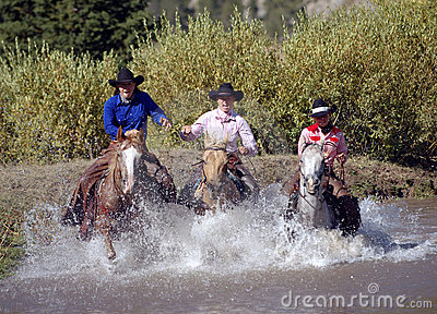 Three Cowgirls Crossing Pond