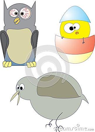Three crazy birds
