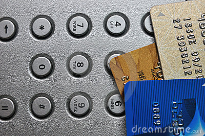 Three Credit card and push button