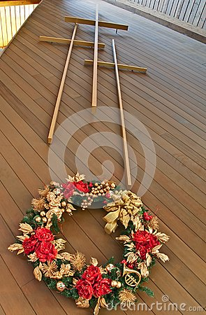 Three Crosses With Christmas Wreath