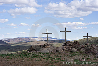 Three crosses in the desert