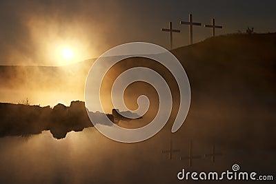 Three Crosses at Sunrise over a Foggy Lake Easter