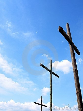 Three crosses wooden