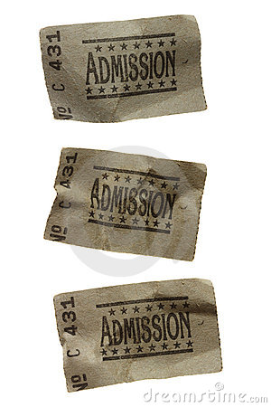 Three CRUMPLED General Admission Tickets
