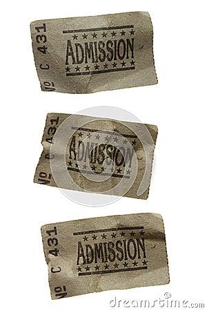 Three CRUMPLED General Admission Tickets