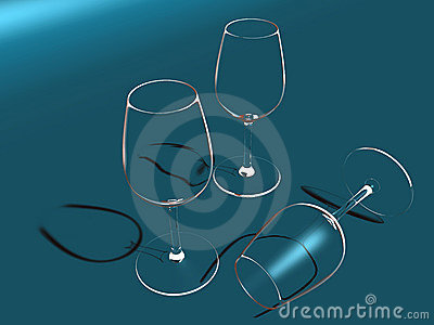 Three Crystal glasses
