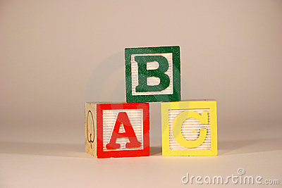 Three Cubes ABC Stock Photo