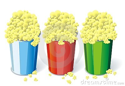 Three cups of popcorn