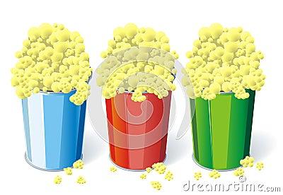 Three cups of popcorn