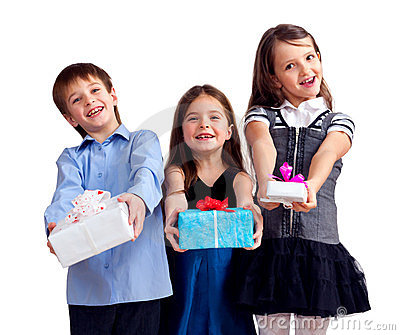 Three cute children gives gifts