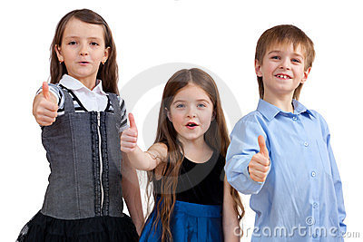 Three cute children shows good sign
