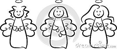 Three cute little angel girls
