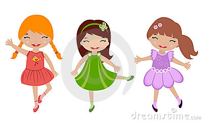 Three cute little girls dancing