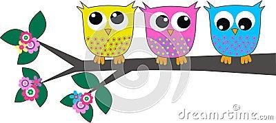 Three cute owls Vector Illustration