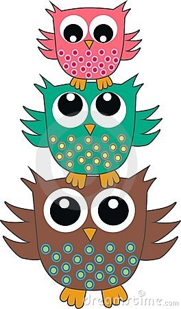 Free Three Cute Owls Royalty Free Stock Photos - 19872568