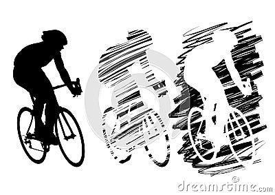 Three cyclist in motion