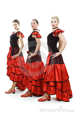 Three dancers in national Spanish costumes