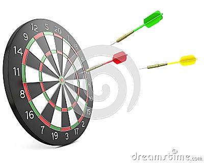 Three darts arrows flying into board