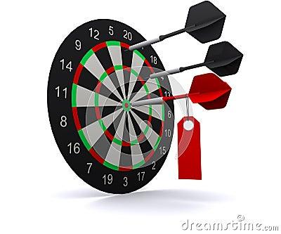 Three darts hit the circle of darts