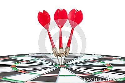 Three darts hit dead centre of target