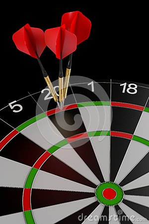 Three darts hitting the perfect score