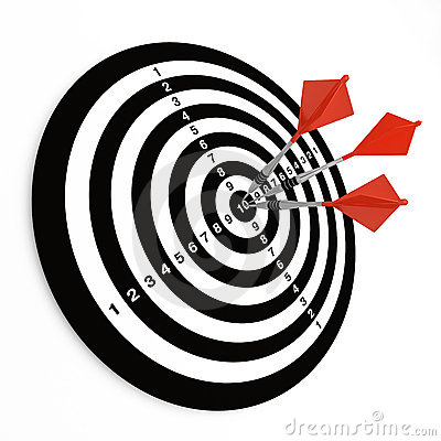 Free Three Darts On Bullseye Royalty Free Stock Photos - 13717488