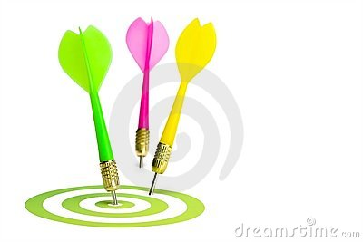 Three darts and a target. Isolated on white.