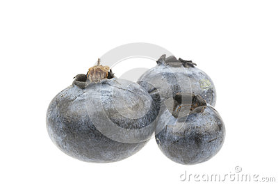 Three decorated blueberries isolated in white