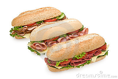 Three delicious submarine sandwiches on white