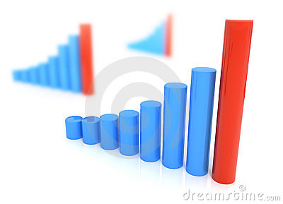 Three diagrams in Blue and red color isolated
