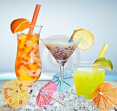 Free Three Different Boba Tea Cocktails Stock Photo - 24623950