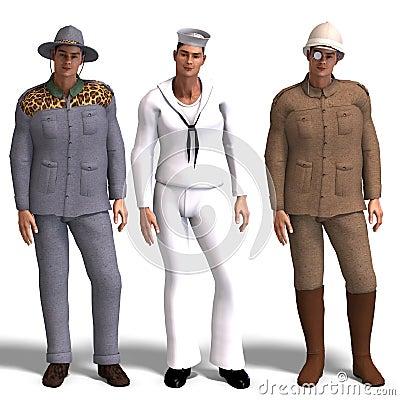Three different outfits: Adventurer, Sailor,