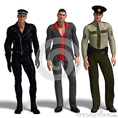 Three different outfits: Biker, Dressman,