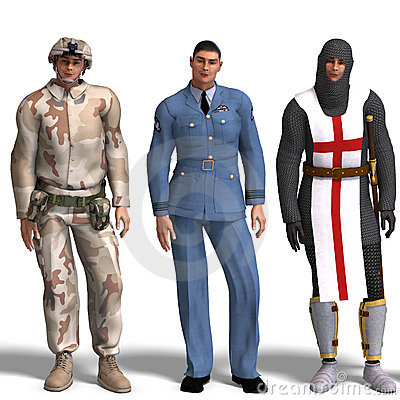 Three different outfits: Soldier, RAF, Knight