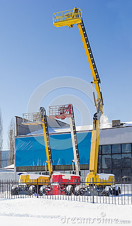 Free Three Different Self Propelled Wheeled Boom Lift With Telescopin Stock Images - 86079994
