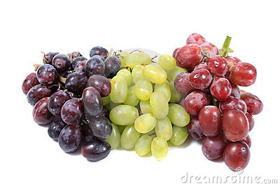 Three different types of grapes