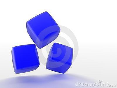 Three dimensional blue cubes
