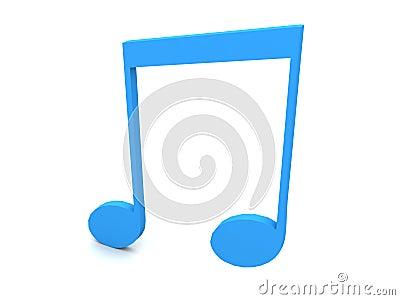Three dimensional blue musical note