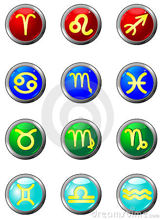 Three Dimensional circle button sign. Zodiac.