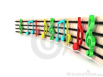 Three dimensional colorful musical clefs