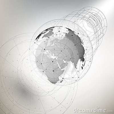 Three-dimensional dotted world globe with abstract construction and molecules on gray background, low poly design vector Vector Illustration