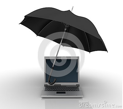 Laptop Under Umbrella Royalty Free Stock Photography
